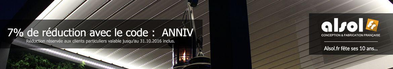 Alsol.fr fête ses 10 ans - 7% de réduction avec le code : ANNIV