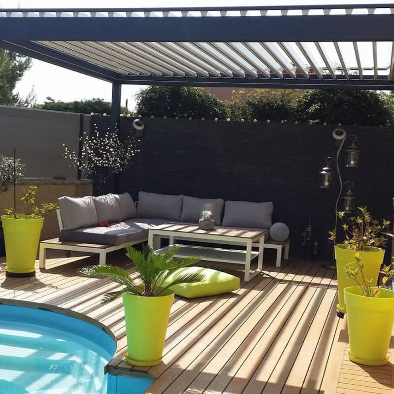 pergola bioclimatique lounge sur mesure en aluminium alsol. Black Bedroom Furniture Sets. Home Design Ideas